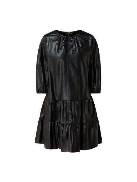 Sukienka rozkloszowana z falbanami - czarna Set