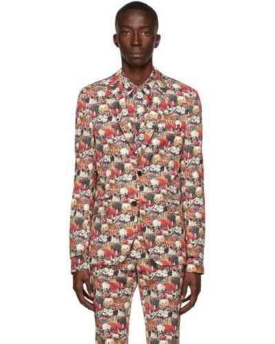 Малиновый удлиненный пиджак с накладными карманами в полоску Paul Smith 50th Anniversary