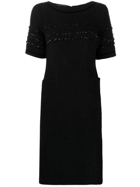 Черное акриловое платье миди с бисером с вырезом Alberta Ferretti