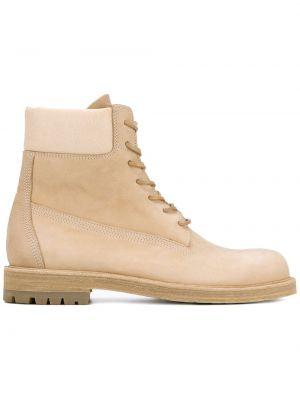 Бежевые кожаные кожаные ботинки на шнуровке Hender Scheme