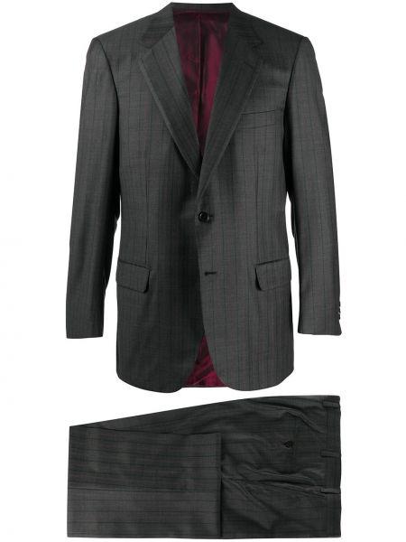 Серый шерстяной костюм в полоску Brioni