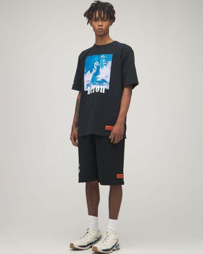 Bawełna czarny koszula z łatami Heron Preston