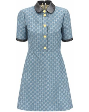 Кожаное приталенное платье мини с воротником с манжетами Gucci