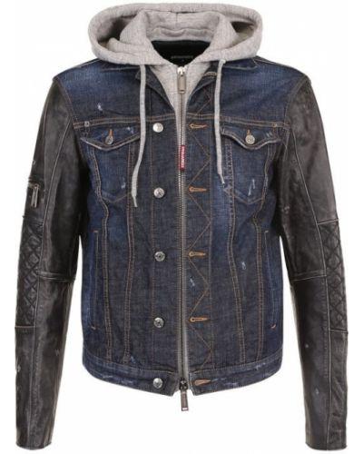 Джинсовая куртка кожаная на молнии Dsquared2