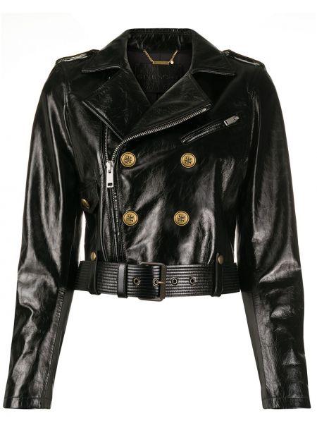 Klasyczna czarna długa kurtka skórzana Givenchy
