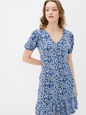 Прямое синее платье А-силуэта Trendyol