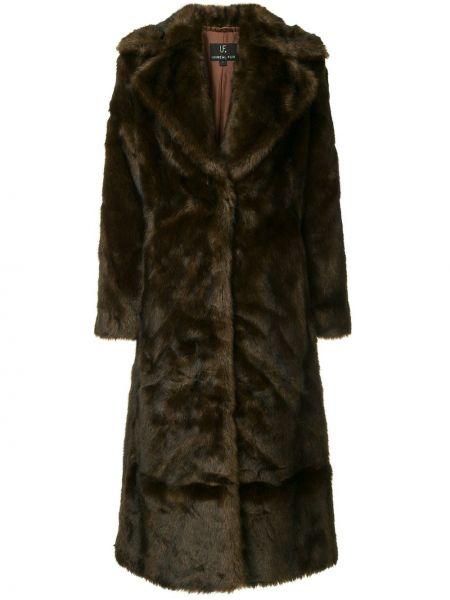 Коралловое акриловое длинное пальто Unreal Fur