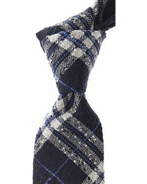 Niebieski krawat w kratę Belvest