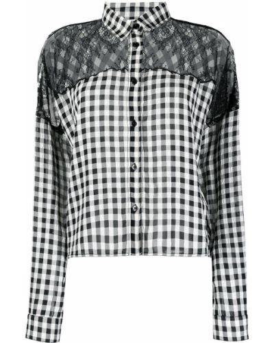 Черная рубашка в клетку с воротником Philosophy Di Lorenzo Serafini