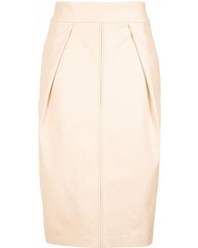 Кожаная юбка миди - бежевая Lilly Sarti