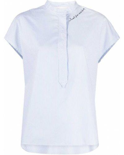 Хлопковая белая рубашка в полоску 8pm