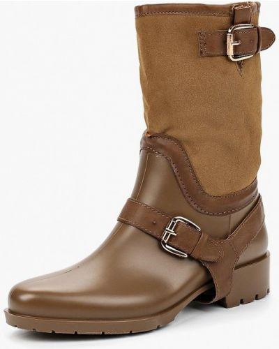 Резиновые сапоги кожаные на каблуке Vh