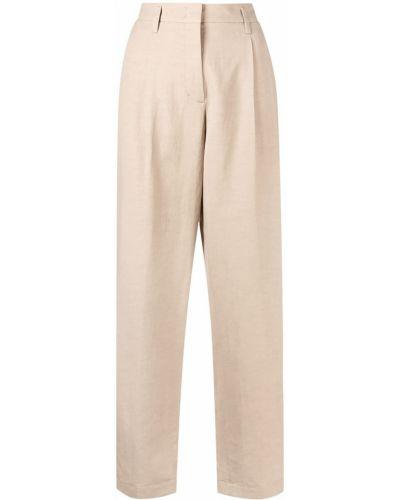 Бежевые с завышенной талией льняные брюки Dorothee Schumacher
