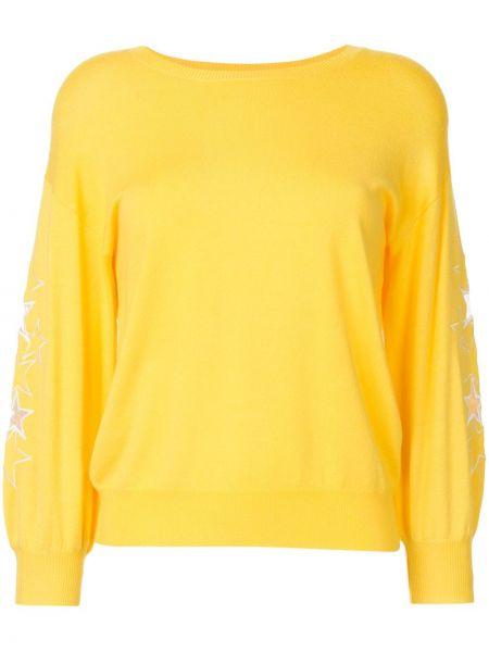 Желтый свитер в рубчик с вышивкой из вискозы Guild Prime