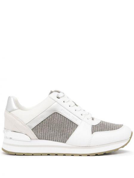 Кожаные белые кроссовки на шнуровке Michael Kors