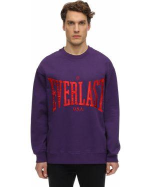 Prążkowana fioletowa bluza bawełniana Everlast T.e.n.