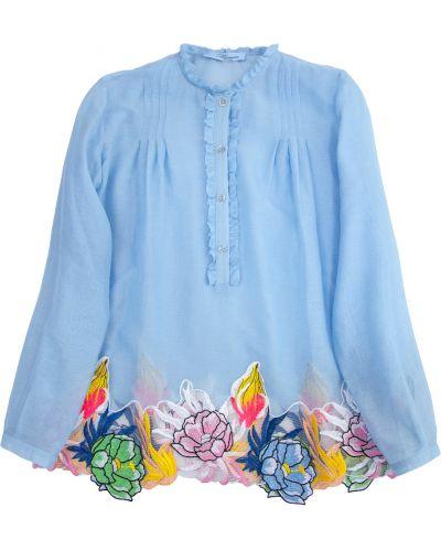 Блузка с длинным рукавом с вышивкой хлопковая Blumarine