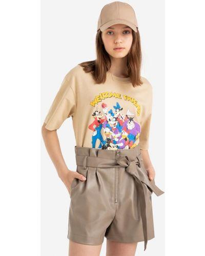 Джинсовые шорты свободного кроя - бежевые Gloria Jeans