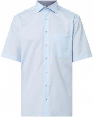 Niebieska koszula bawełniana krótki rękaw Eterna