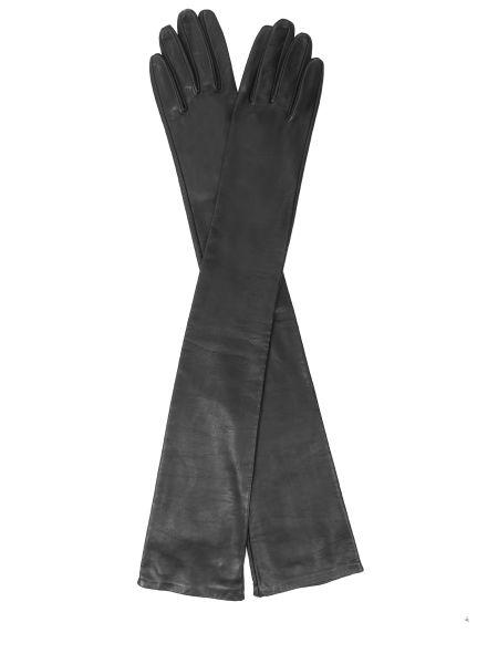 Черные классические шелковые перчатки длинные Sermoneta Gloves