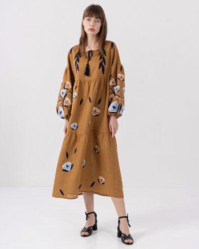 Этническое коричневое платье оверсайз Etnodim