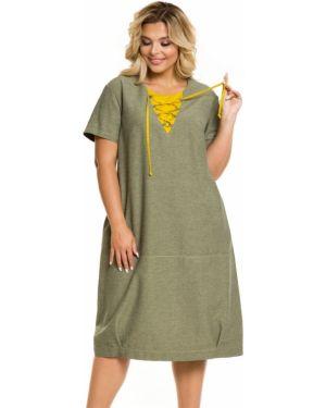 Плиссированное повседневное платье в стиле бохо на шнуровке со складками Novita