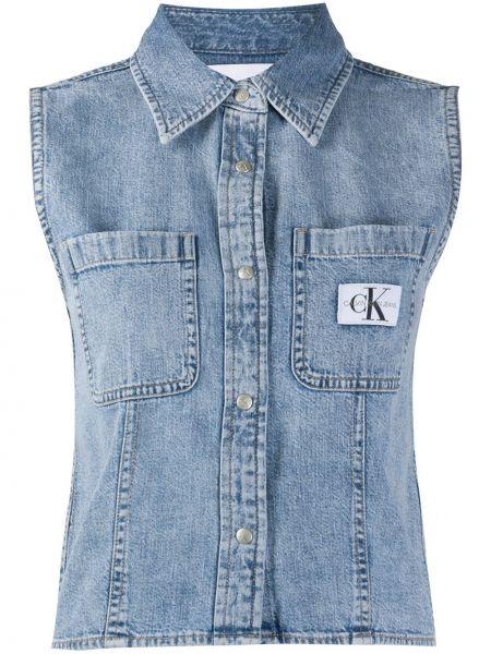 Niebieska koszula jeansowa bawełniana bez rękawów Calvin Klein Jeans