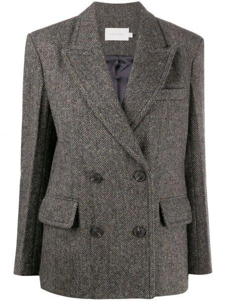 Серое шерстяное пальто классическое двубортное Low Classic