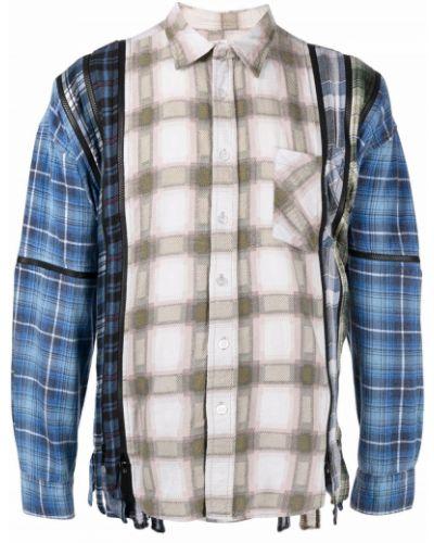 Niebieska koszula z długimi rękawami Needles