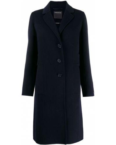 Однобортное синее длинное пальто с капюшоном Sport Max Code