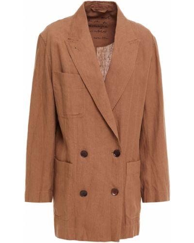 Льняной коричневый пиджак двубортный Acne Studios