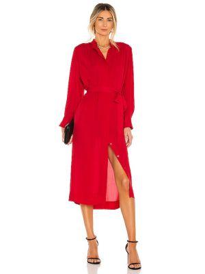 Sukienka długa z długimi rękawami z jedwabiu zapinane na guziki Rebecca Taylor