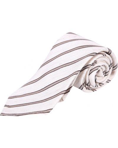 Biały krawat w paski Lardini