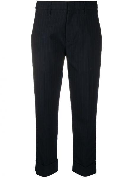 Синие шерстяные брюки с карманами с потайной застежкой Tela