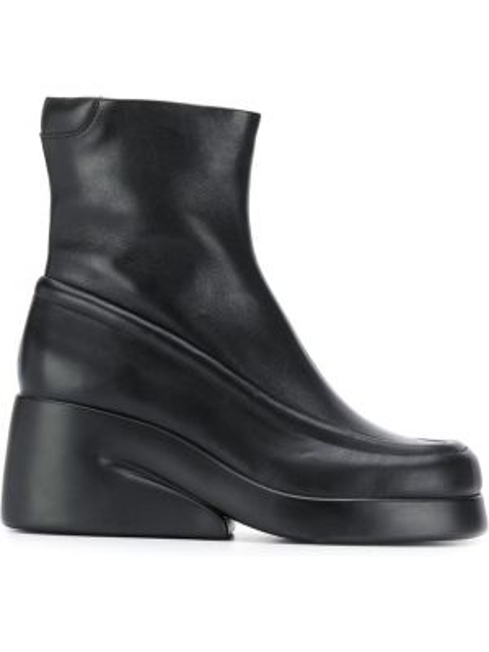 Черные ботинки на каблуке с квадратным носком на молнии Camper Lab