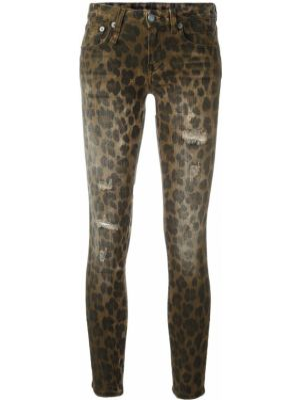 Хлопковые коричневые джинсы-скинни с пайетками скинни R13