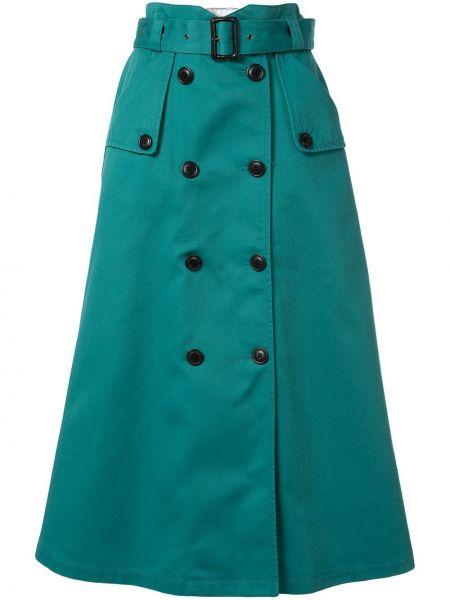 Хлопковая зеленая юбка миди с карманами в рубчик Loveless