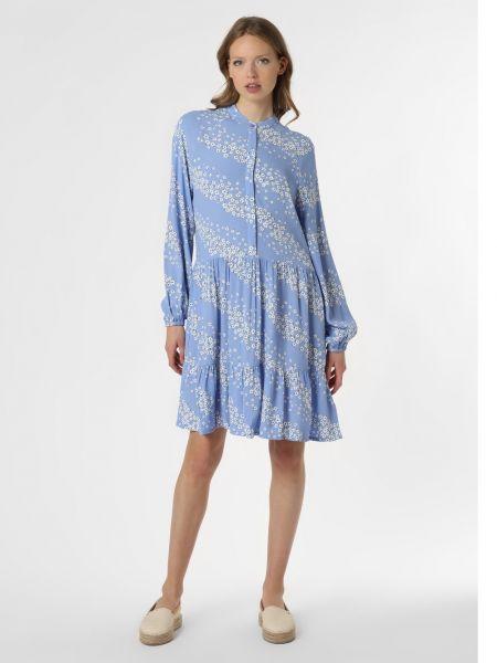 Niebieska sukienka z wiskozy z printem Mbym