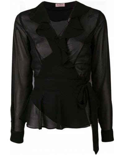 Блузка с длинным рукавом с рюшами черная Blanca