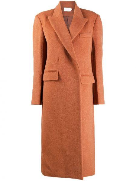 Розовое шерстяное пальто классическое с запахом Low Classic