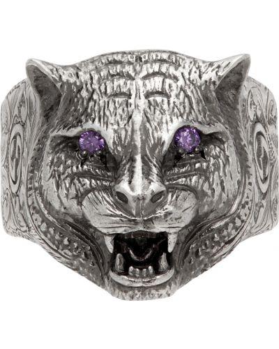 Fioletowy pierścionek srebrny Gucci