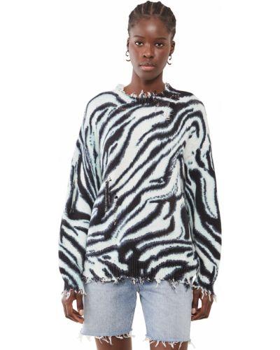Хлопковый синий длинный свитер с длинными рукавами R13
