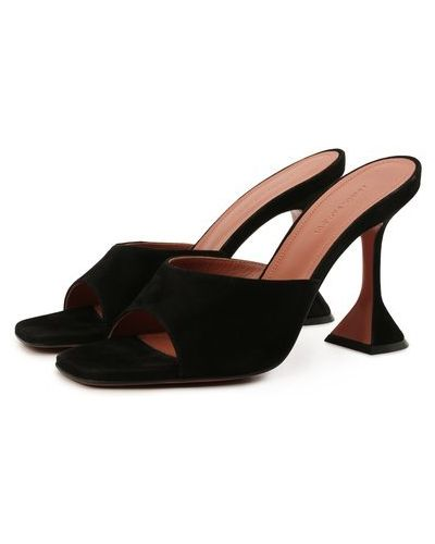 Черные замшевые мюли на каблуке Amina Muaddi
