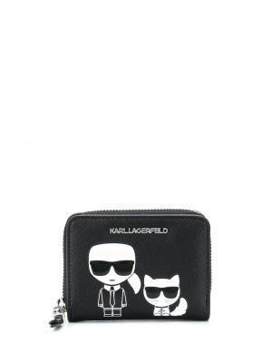 Черный кошелек круглый со шлицей Karl Lagerfeld