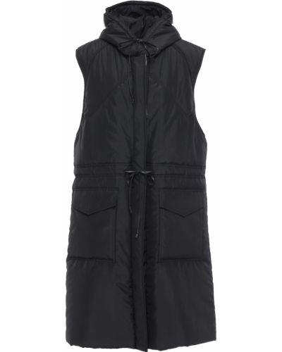 Черное кожаное пальто с капюшоном Victoria Beckham