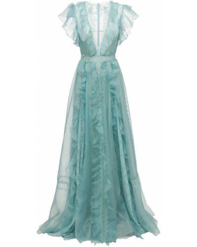 Платье с поясом на молнии из органзы Zuhair Murad