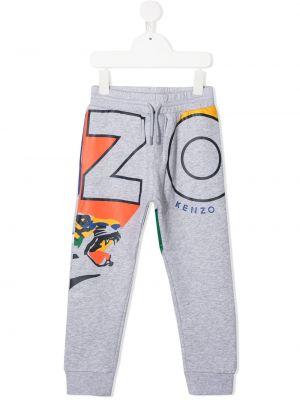 Prążkowane spodnie bawełniane z printem Kenzo Kids