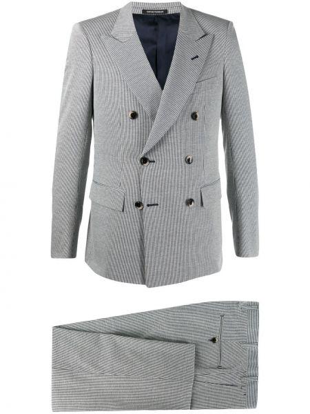 Niebieski garnitur bawełniany z paskiem Emporio Armani