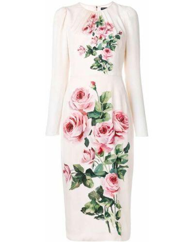 Платье миди с цветочным принтом с длинными рукавами Dolce & Gabbana