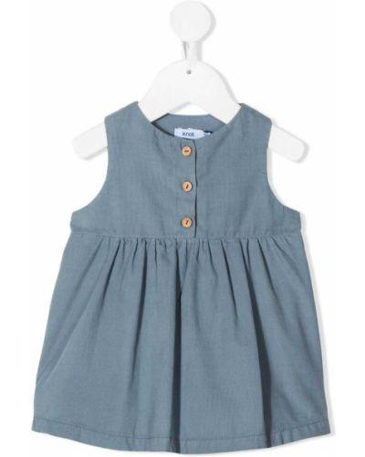 Синее расклешенное платье на пуговицах без рукавов Knot